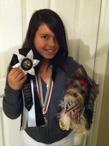 IABCA 2012-My daughter Isabella with her Junior Handling Awards and Yoli's Yorkies Tesa with her National/International/ Best of Breed Awards!!!